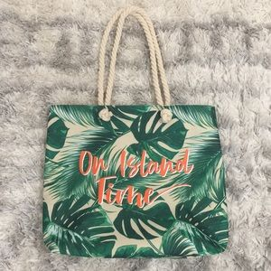 "Ultra Canvas Tote ""on island time"" Palm Trees"